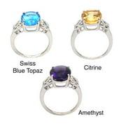 De Buman  Sterling Silver Genuine Citrine, Swiss Blue Topaz or Amethyst Ring