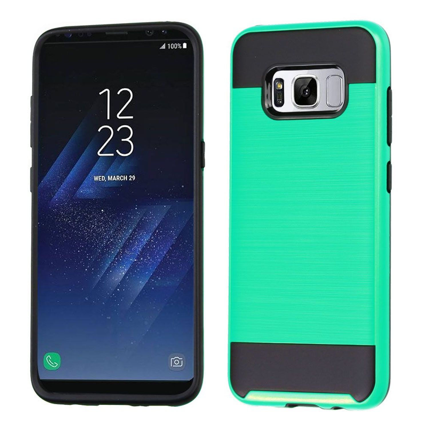 Insten Dual Layer [Shock Absorbing] Hybrid Hard Plastic/Soft TPU Rubber Case Phone Cover For Samsung Galaxy S8, Green/Black