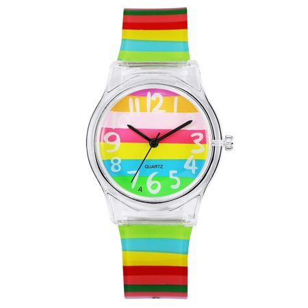 Zeiger New Cool Kids' KW019 Analog Lovely Time Teacher Young Girls Teen Wrist Watch with Multi-color Silicone Band ()
