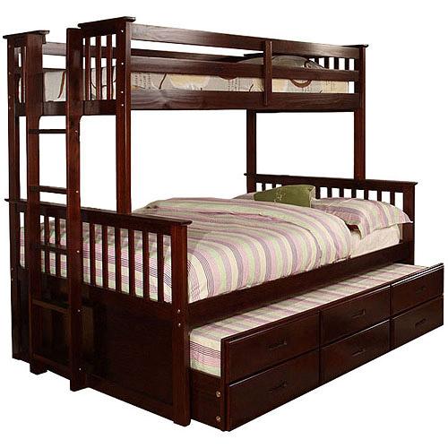 Venetian University I Twin over Full Bunk Bed, Trundle, Dark Walnut, Box 3 of 3