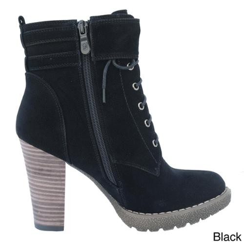 DimeCity Women's 'Breve' Stacked Heel Lace-up Ankle Boots Black- 8