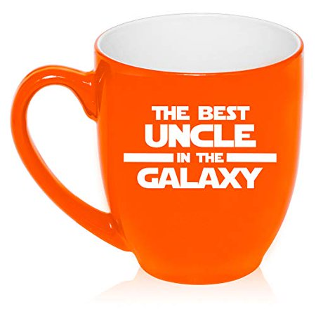 16 oz Large Bistro Mug Ceramic Coffee Tea Glass Cup Best Uncle In The Galaxy (Orange)