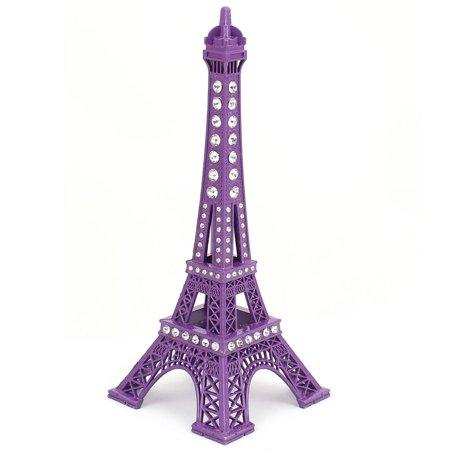 Unique Bargains Rhinestone Detail Eiffel Tower Sculpture 3D Model Ornament 18cm Height Purple