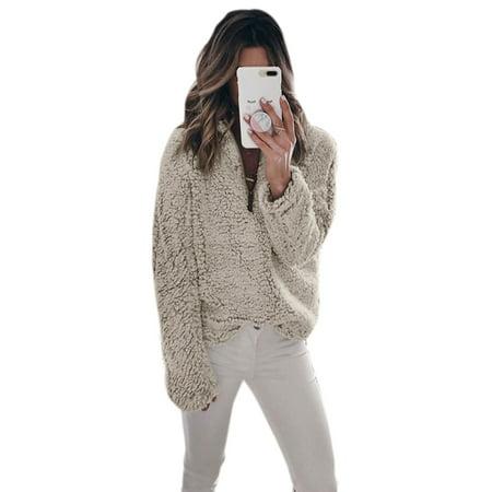 Women Sweater Long Sleeve Zip Stand Collar Fleece Pullover Jacket Outwear Sweatshirt Winter Coat Casual Solid Color Tops