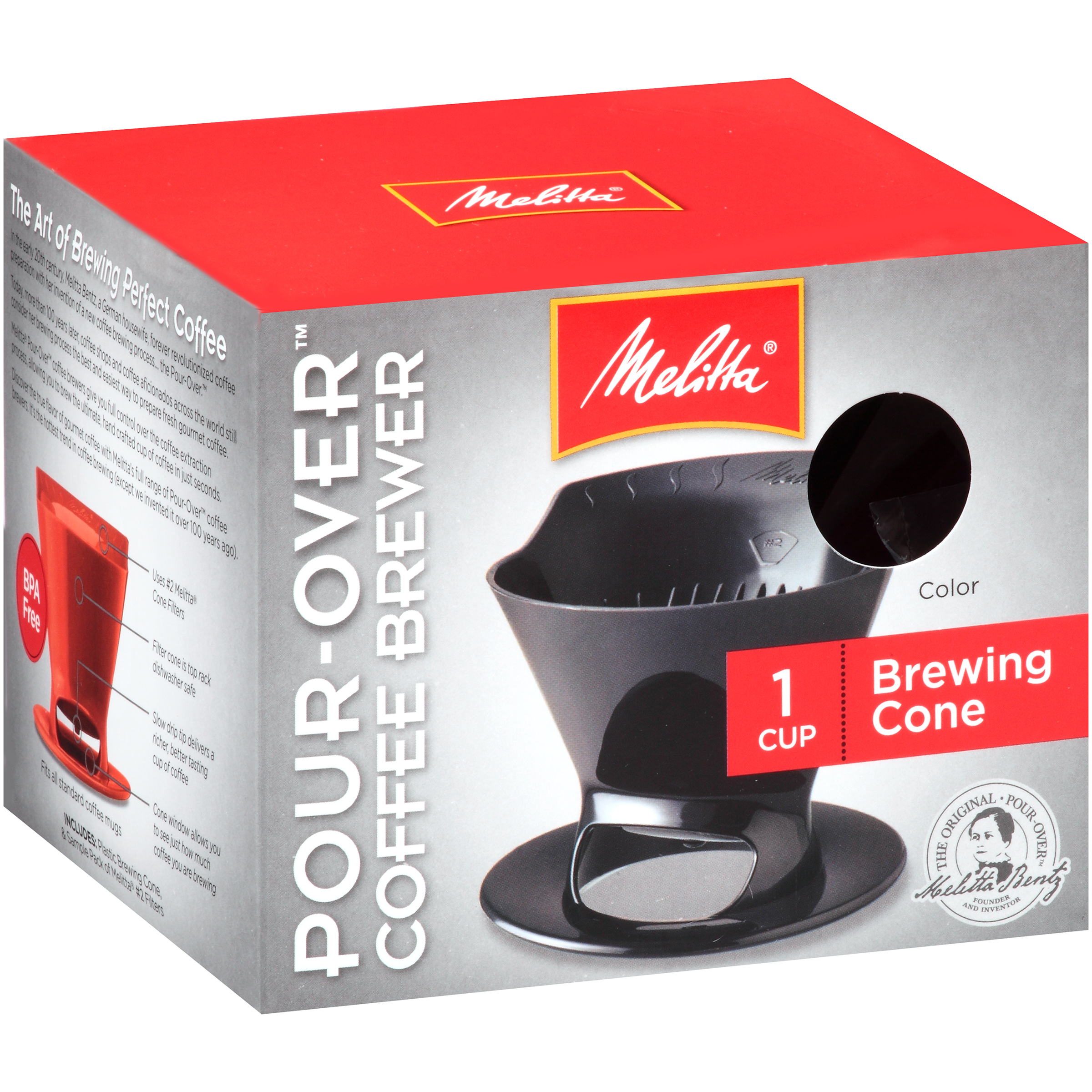 Melitta® Pour-Over™ Black Brewer Single Coffee Cup Maker Box