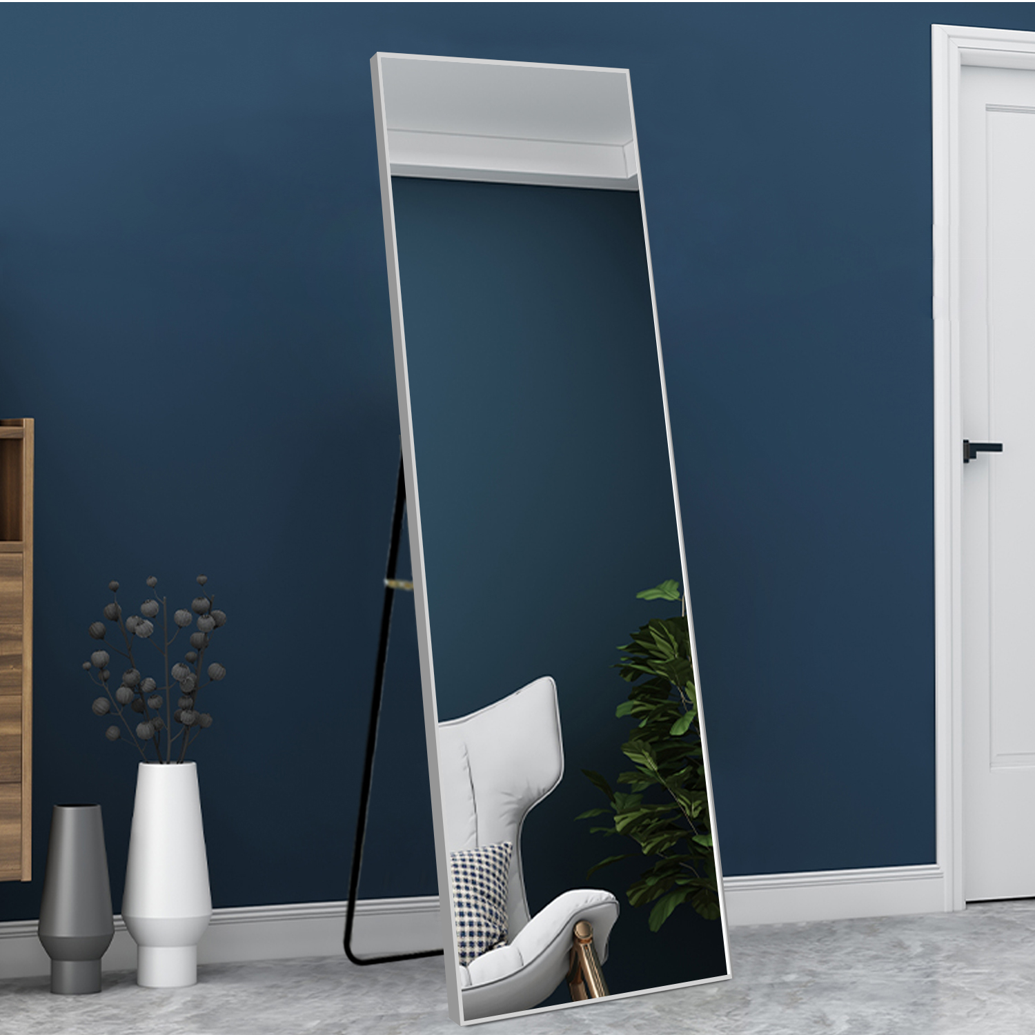 Neutype Full Length Mirror With Standing Holder Floor Mirror Large Wall Mounted Mirror Bedroom Mirror Dressing Mirror Aluminum Alloy Thin Frame Silver 65 X 22 Walmart Canada