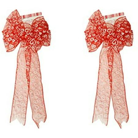 2 Valentine Red Glitter Wired Satin Bows with White Heart Design! -