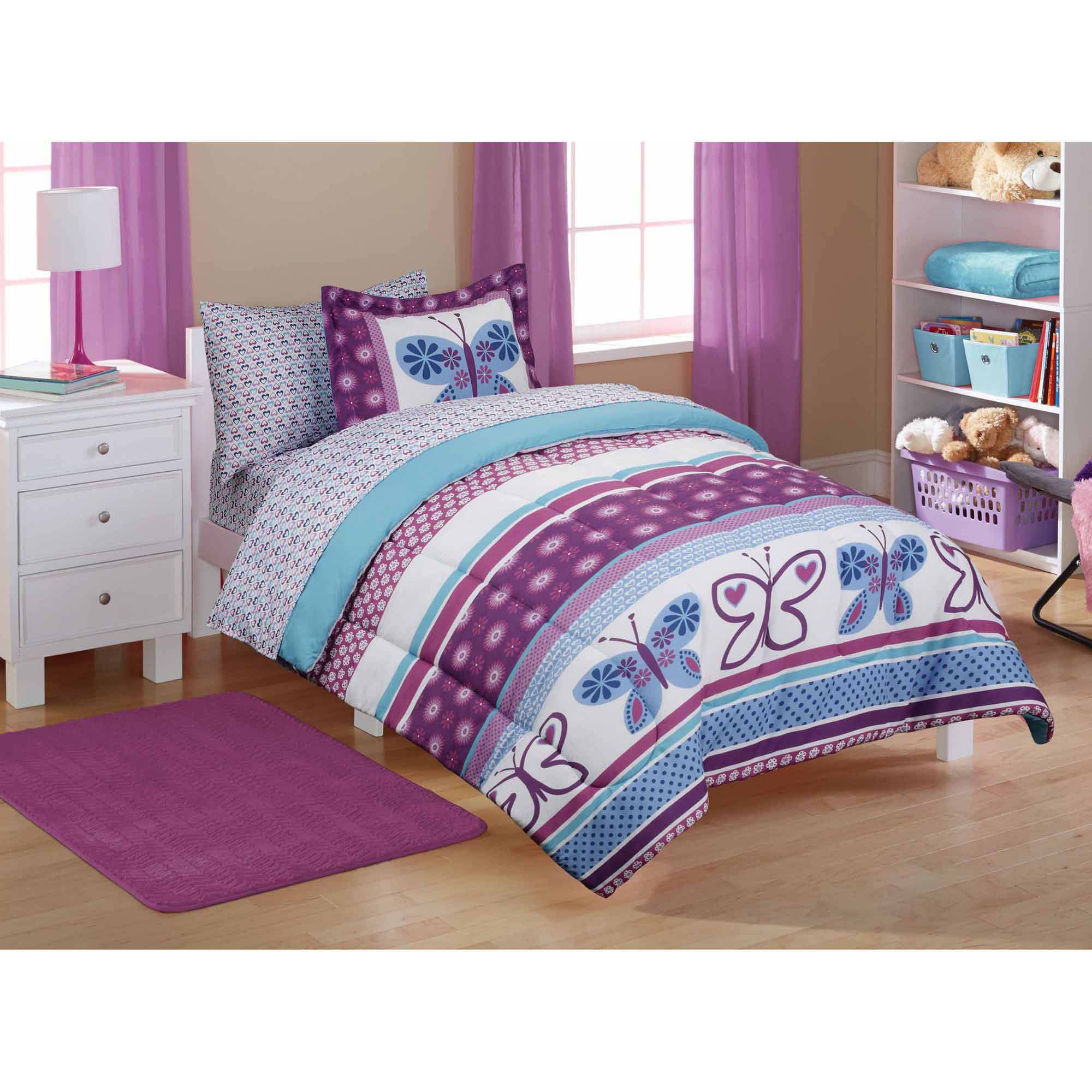 Mainstays Kids Purple Butterfly Coordinated Bed in a Bag, 1 Each