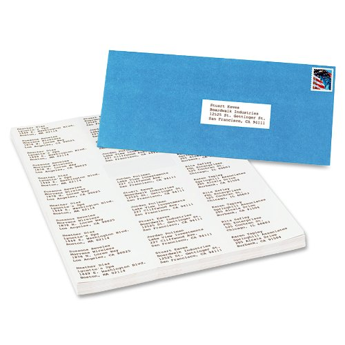 "Avery White Mailing Labels - 1.50"" Width X 2.81"" Length - 16500 / Box - Rectangle - 33/sheet - White (AVE5334)"