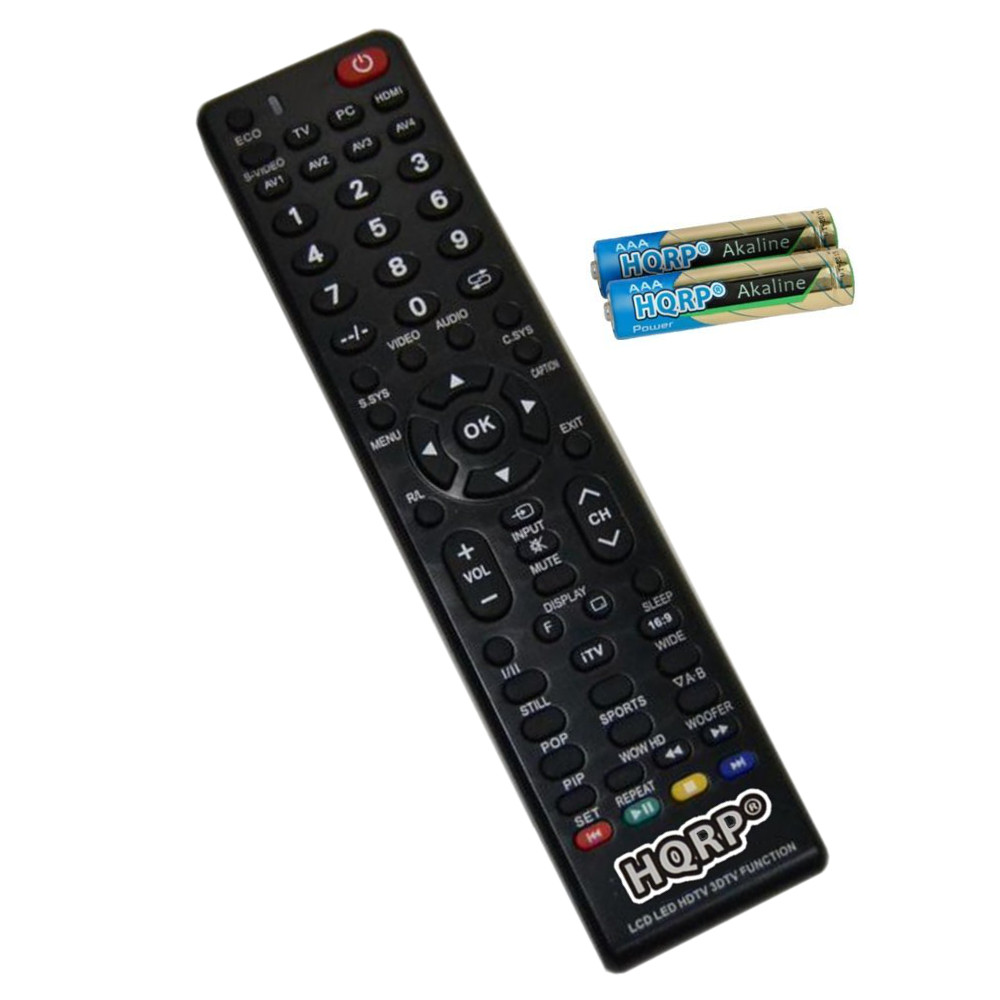 HQRP Remote Control for Sanyo DP3D13, DP40D64, DP42142, DP42410, DP42545 LCD LED HD TV Smart 1080p 3D Ultra 4K + HQRP Coaster
