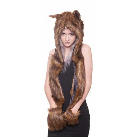 Faux Fur Black Wolf Animal Cosplay Costume Hoodie Halloween, One Size](Black Wolf Halloween Contact Lenses)