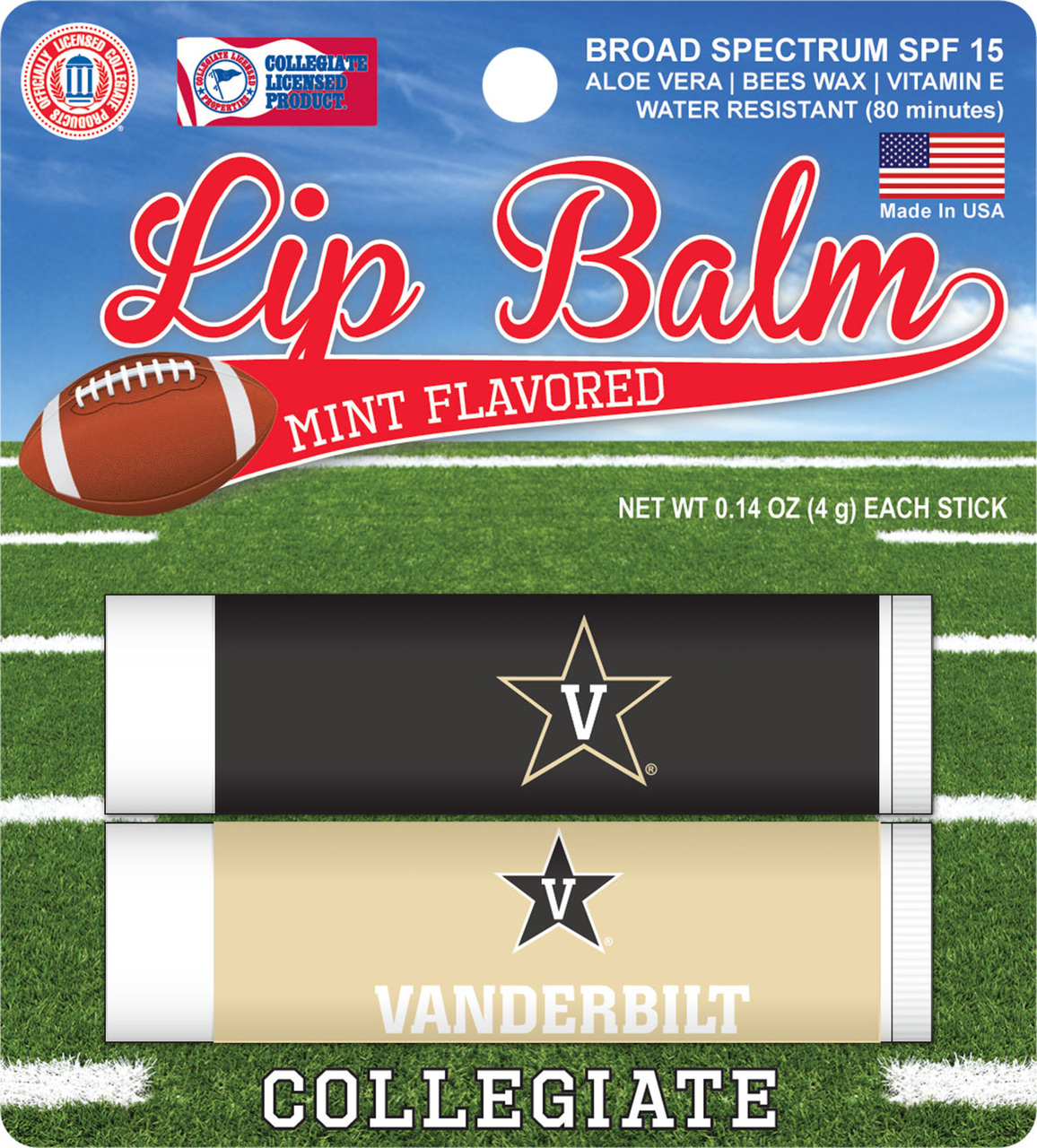 Vanderbilt Commodores 2 Pack Lip Balm - Black
