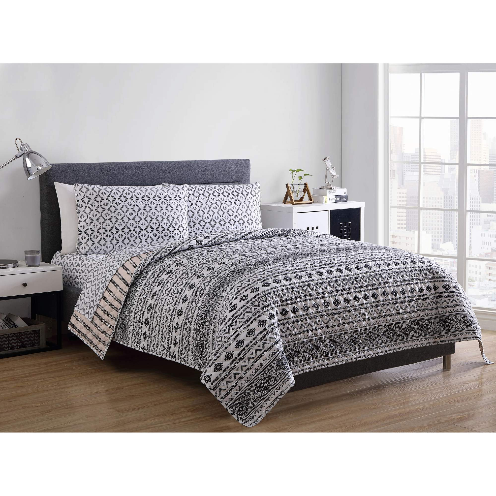 Mainstays Tribeca Geometric 5-Piece Bedding Quilt Set by VCNY Home