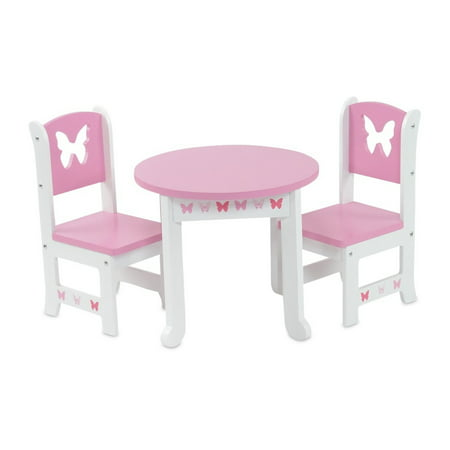 18 Inch Doll Furniture Lovely Pink And White Table And 2 Chair Dining Set With Beautiful Butterfly Motif Fits American Girl Dolls