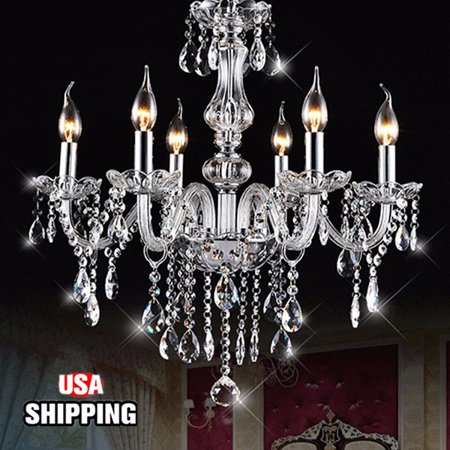 Elegant Crystal Chandelier Decor Candle Clear 6 Lights Fixture Pendant Ceiling Lamp European Chandeliers E12 light 6 Arms 600W AC110V/220V For Home Decor Bedroom Restaurant (Ceiling Decor)