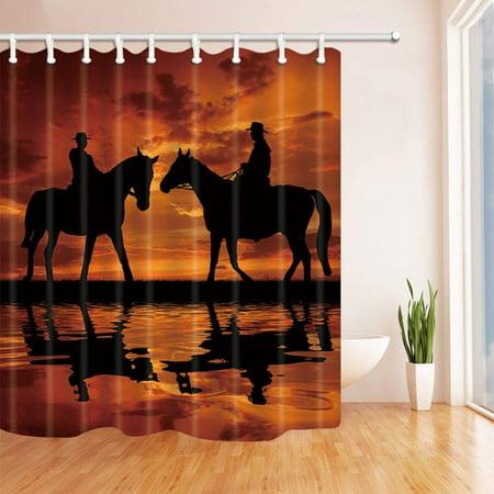 BPBOP Farm Decor Cowboy on Horse at Sunset Black Polyester Fabric Bathroom Shower Curtain 66x72