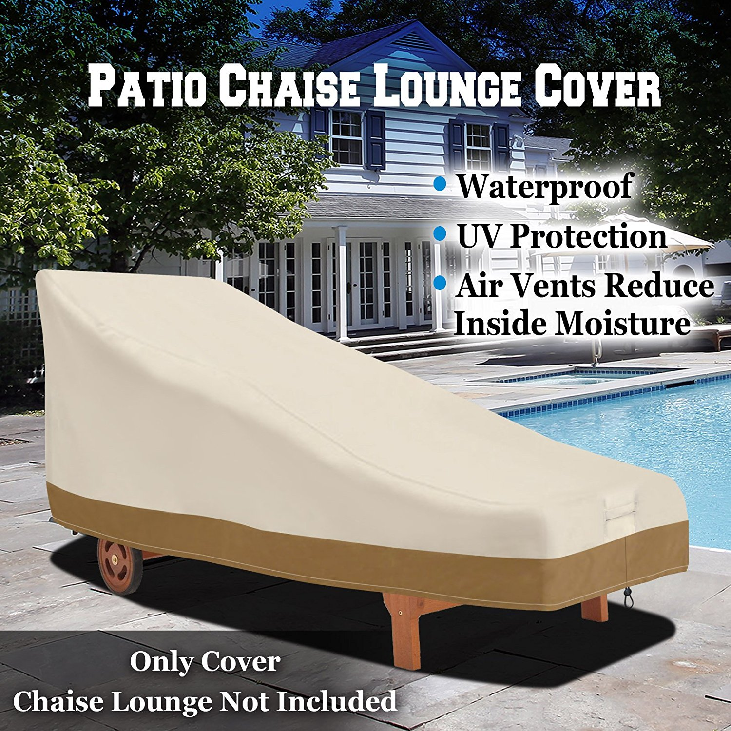 "Sunrise Outdoor Patio Day Chaise Lounge Cover, Furniture Protector, Waterproof 78.7"" x 36.2"" x 33"""