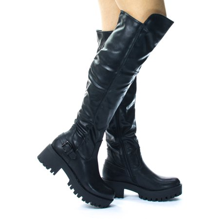 Willy1 by Blossom, Lug Sole Over Knee Thigh High Belted Riding Boots. Platform Thread