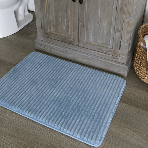 Mainstays Quick Dry Memory Foam Bath Rug, Blue Linen, 17 ...