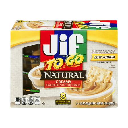 - (24 Pack) Jif To Go Natural Creamy Peanut Butter, 1.5 oz cups