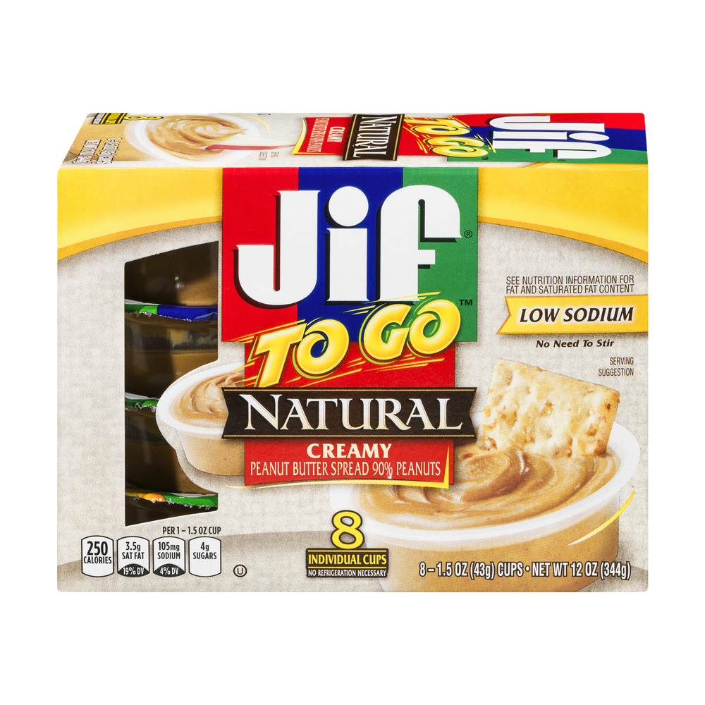 JIF To Go Snack Cups, Creamy Peanut Butter, 8 ct