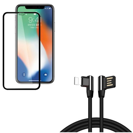 Angle USB Cable w Screen Protector for iPhone XR - 10ft Charger Cord Power Wire, Anti-Glare Tempered Glass Matte 3D