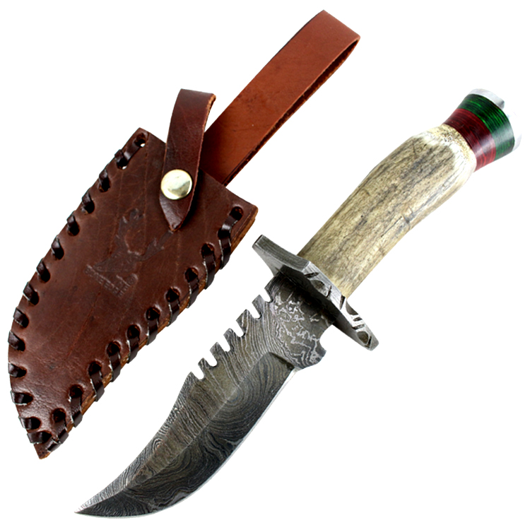 "TheBoneEdge 9"" Damascus Blade Hunting Knife Real Stag Handle Leather Sheath"