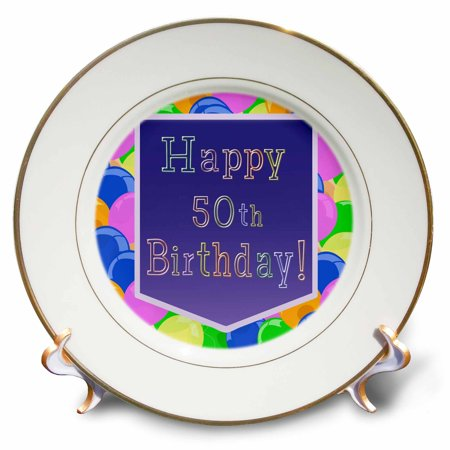 3dRose Balloons with Purple Banner Happy 50th Birthday, Porcelain Plate, 8-inch - 50th Birthday Banners And Balloons