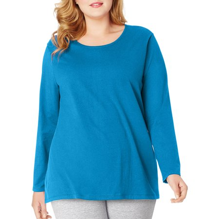 Just My Size Plus-Size Women's Long-Sleeve Scoopneck Tee