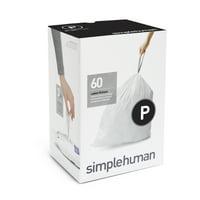 simplehuman Code P Custom Fit Liners, 50-60 Liter / 13-16 Gallon, 60 Count