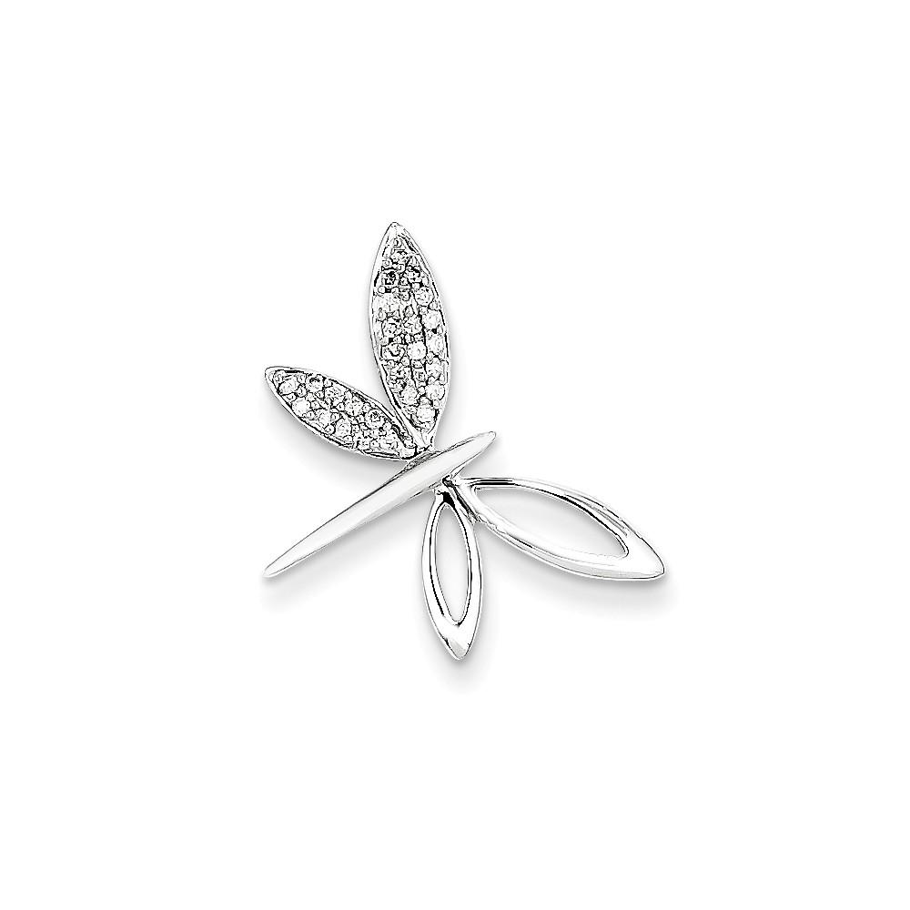14k White Gold Diamond Dragonfly Pendant. Carat Wt- 0.1ct