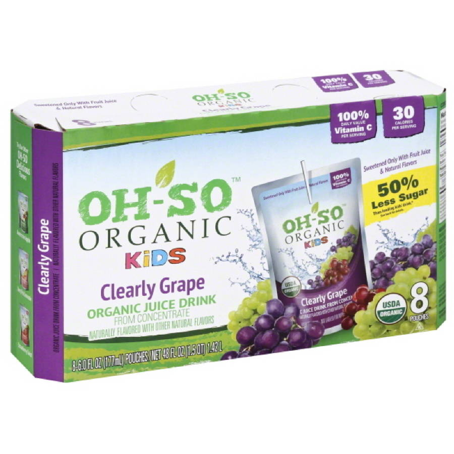 Oh-So Organic Kids Clearly Grape Organic Juice Drink from Concentrate, 48 fl oz, (Pack of 5)