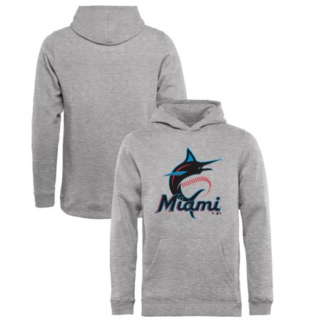 - Miami Marlins Fanatics Branded Youth Primary Logo Pullover Hoodie - Heathered Gray