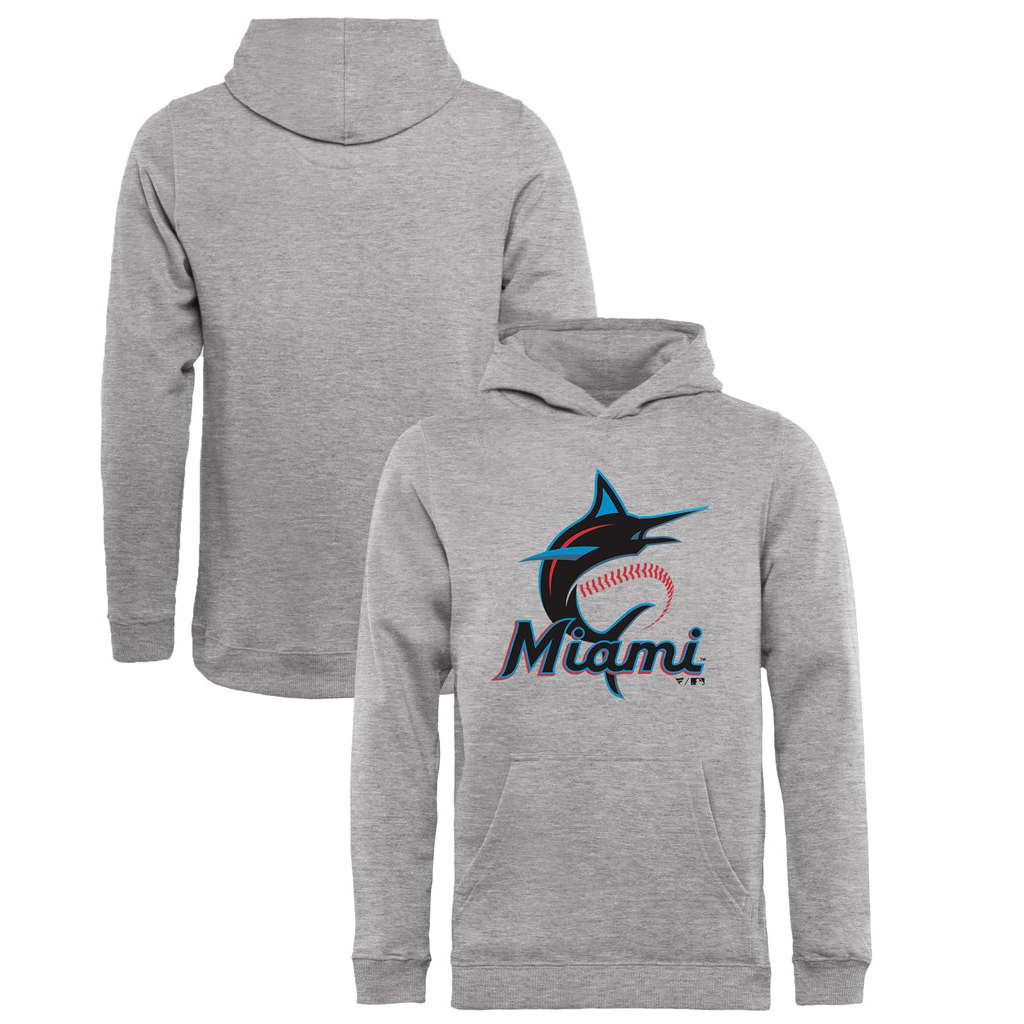 Miami Marlins Fanatics Branded Youth Primary Logo Pullover Hoodie - Heathered Gray