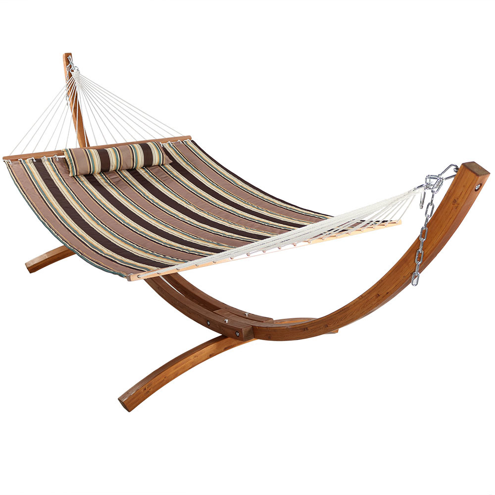 Sunnydaze Quilted Fabric Hammock 2-Person with 12-Foot Curved Arc Wood Stand, Indoor/Outdoor, Heavy Duty 400-Pound Capacity, Sandy Beach
