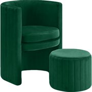 Meridian Furniture Selena Velvet Accent Chair and Ottoman Set in Green