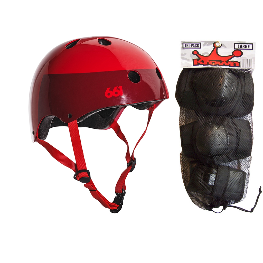 661 Dirt Lid Skateboard BMX Youth Helmet Red S/M Knee Elbow Wrist Pads