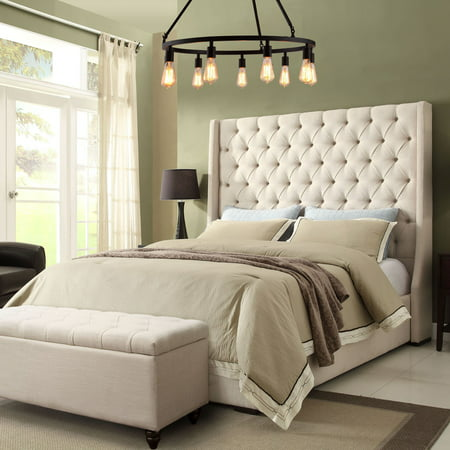 Diamond Sofa Park Avenue Tufted Bed with Vintage Wing - Desert Sand Linen