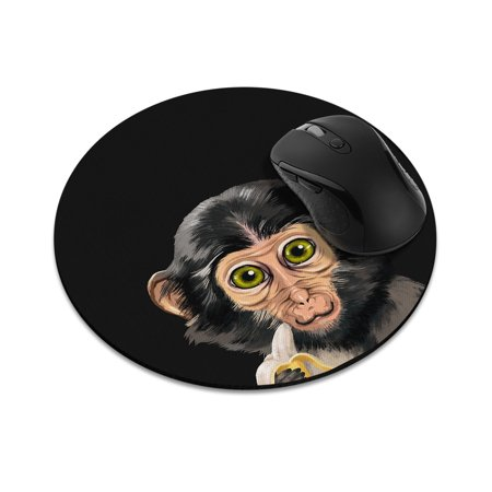FINCIBO Round Standard Mouse Pad, Monkey with Banana