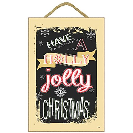 "Christmas Holiday Wall Hanging Decor Plaque Inscribed ""HAVE A HOLLY JOLLY CHRISTMAS"" (7"" x 10.5"" Beige Border with Snowflake in"