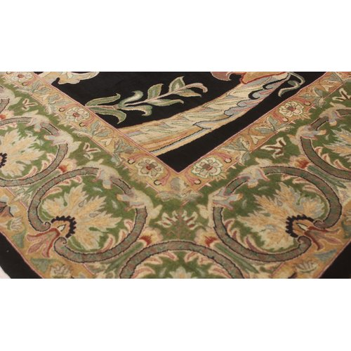 Astoria Grand Bellomy Bhati Hand Knotted Wool Black Green Area Rug
