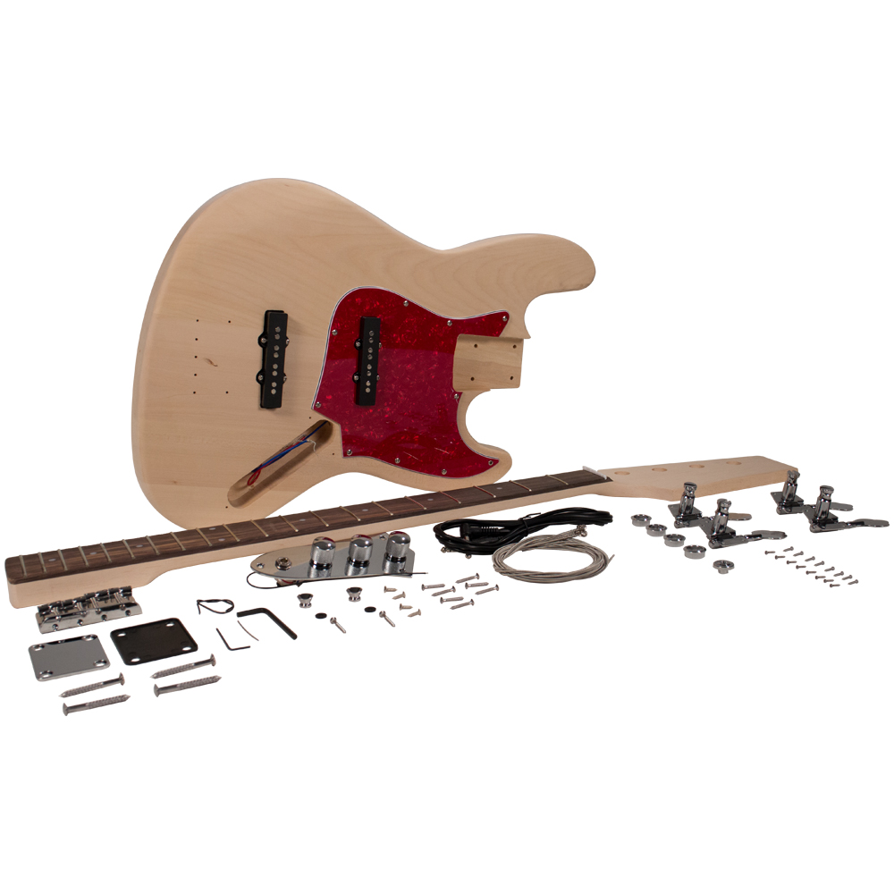 Seismic Audio Vintage J-Bass Style DIY Electric Guitar Kit - Unfinished Luthier Project Kit Multi color - SADIYG-19