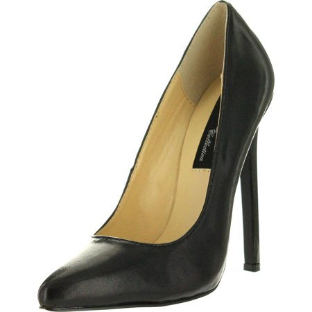 The Highest Heel Womens Hottie Stiletto Pumps Shoes, Black Pu, 6 - The Highest Heel