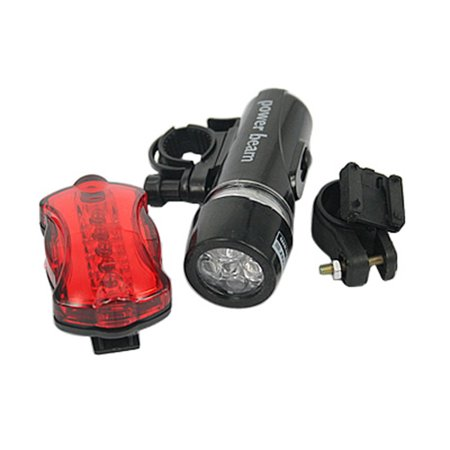HDE Waterproof LED Cycling Lights Bicycle Handlebar Headlight & Red Flashing Tail Light