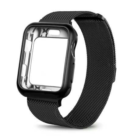 For Apple Watch Band with Case 42mm, Stainless Steel Mesh Milanese Loop with Adjustable Magnetic Closure Replacement Wristband Band for Apple Watch Series 3 2 1 - Black
