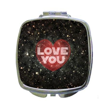 Love You - Galactic Design - Compact Square Silvertone Mirror - Love/ Valentine's Day