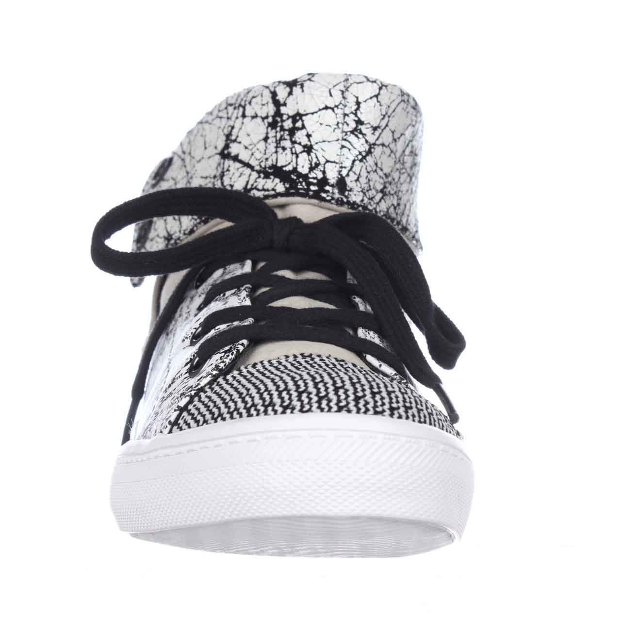 Womens Rebecca Minkoff Spencer Foldover Sneakers, Creme/Black