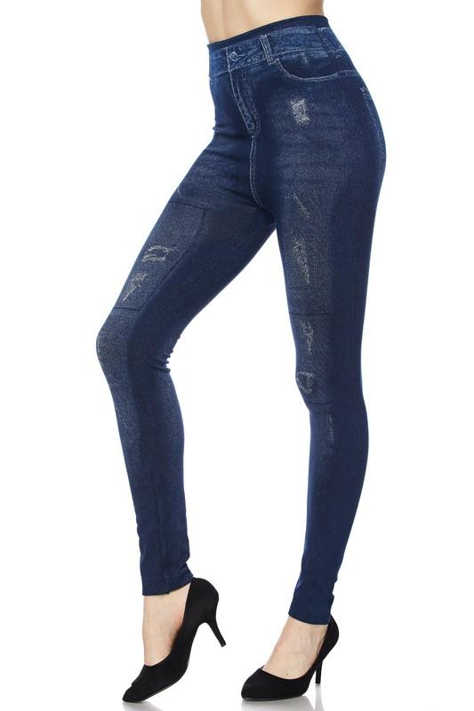 Juniors' Leggings Celebrity Washed Denim Print Leggings with Faux Back Pockets One Size