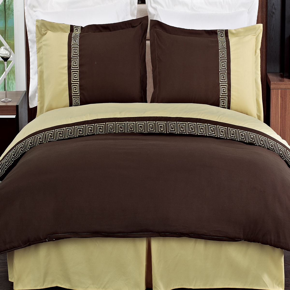 Luxury Astrid Embroidered 3-Piece 100% Microfiber Duvet Cover & 2 Shams Set- 2 Sizes