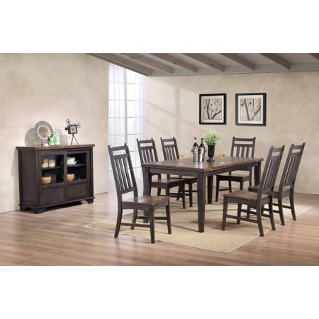 Kara 8 Piece Dining Room Set, Gray & Brown Wood, Transitional (Table, 6 Slatback Chairs & Buffet (8 Piece Dining Room Table)